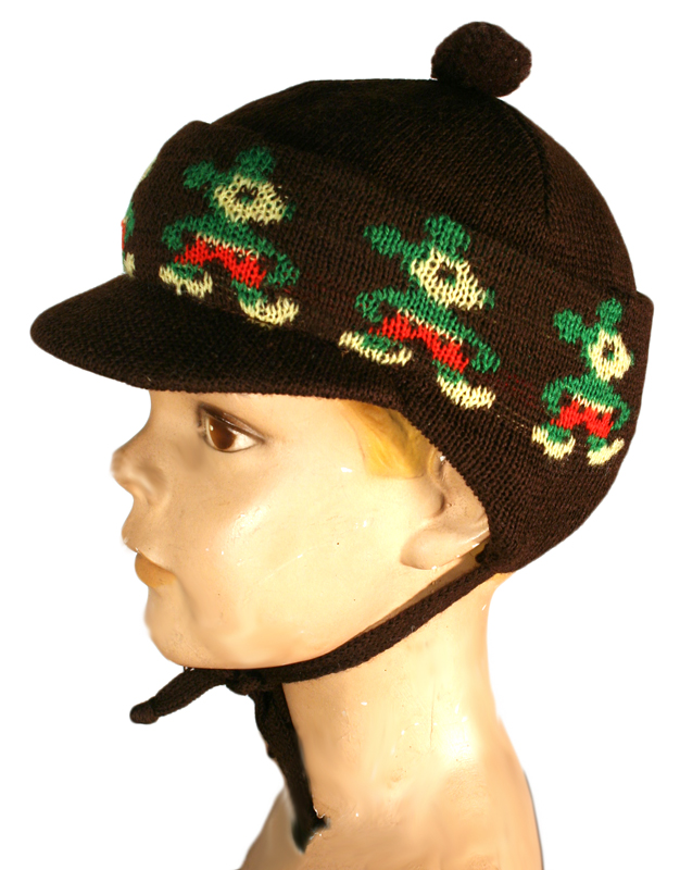 This hat is wool knit and bares a tag from the