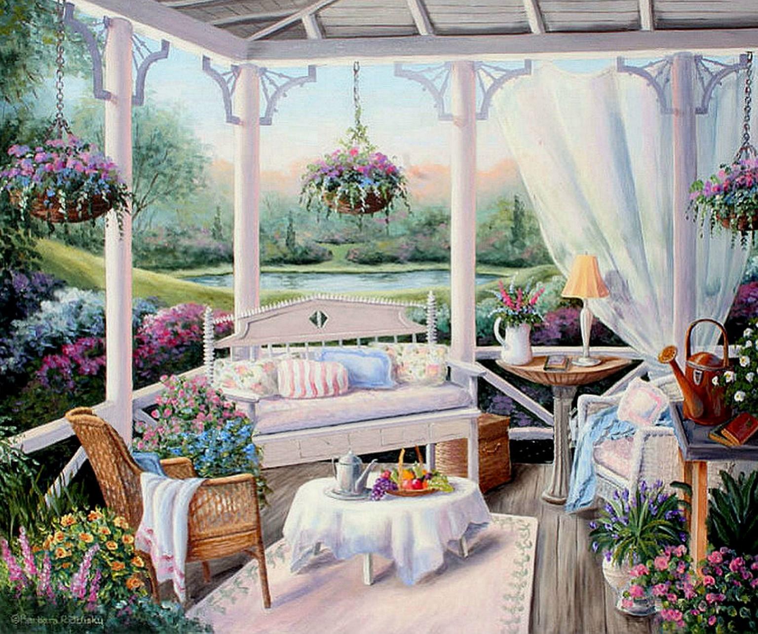 Cuadros modernos pinturas y dibujos barbara rosbe arte work - Oleos de jardines ...