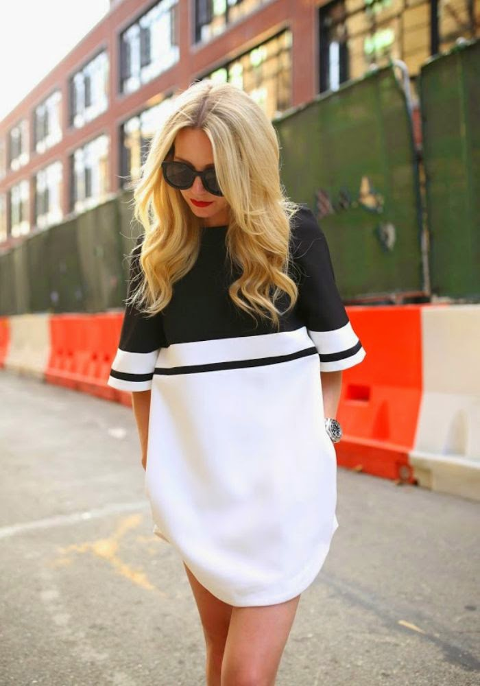 Classic - two color dress white black sunglasses street