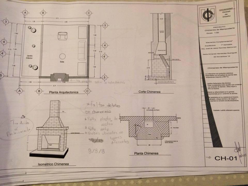 Elementos complementarios de la edificaci n fichas Planos de chimeneas de lena