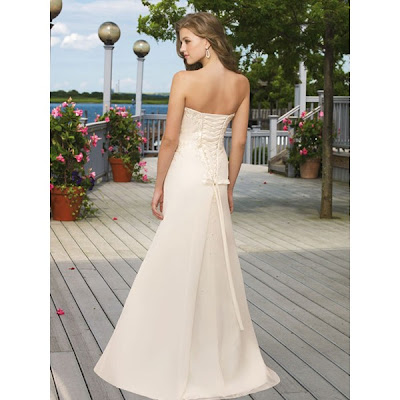 Dainty Applique Beaded Chiffon Satin Beach Sweep Train Wedding Dress