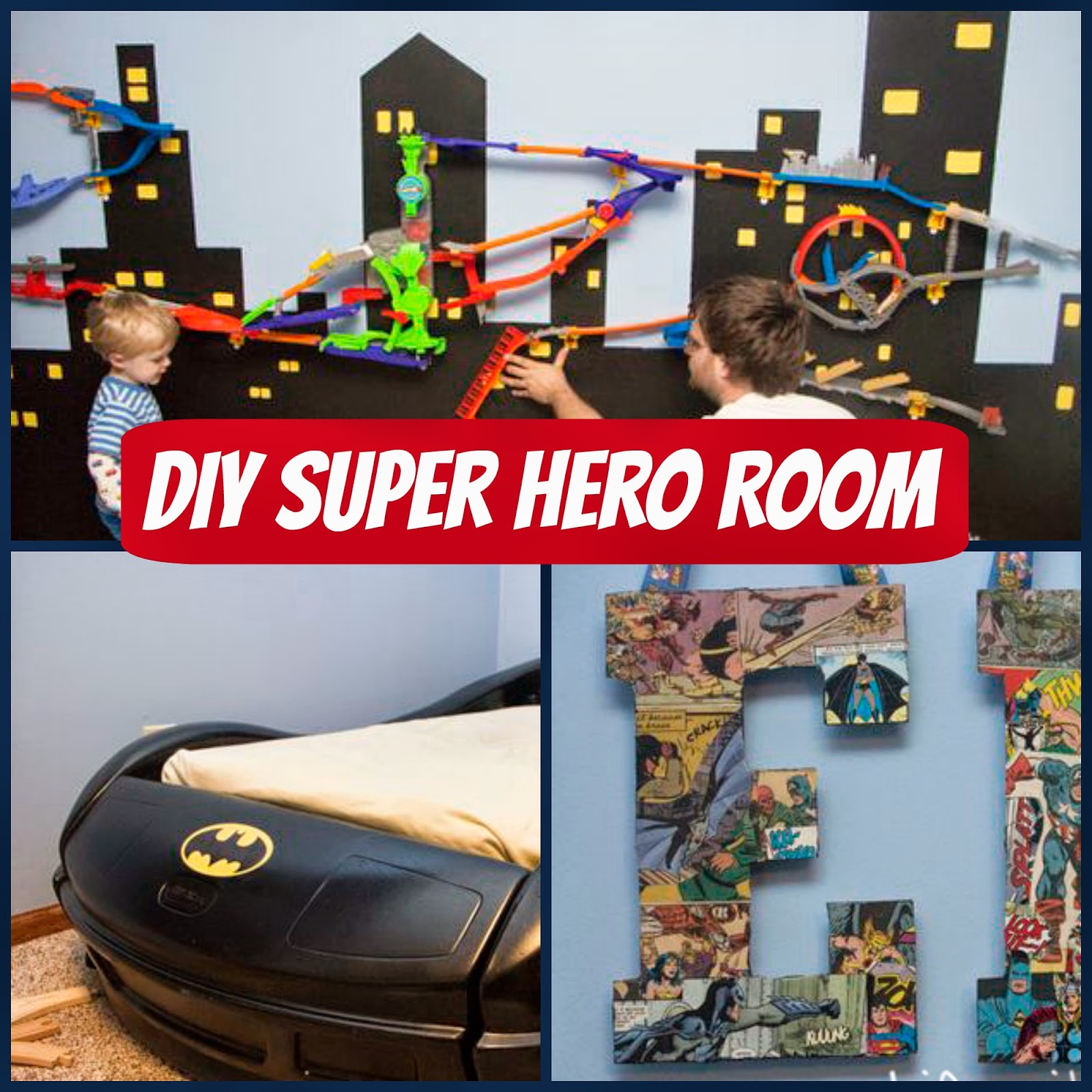 Superhero bedroom - To Start With We Painted The Walls A Lighter Shade Of Batman Blue Then I Turned My Attention To His Little Race Car Bed I Decided I Could Easily Re Do