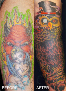 Tattoo cover up before and after of and owl in a top hat by tattoo artist Jason Kunz for Triumph Tattoo