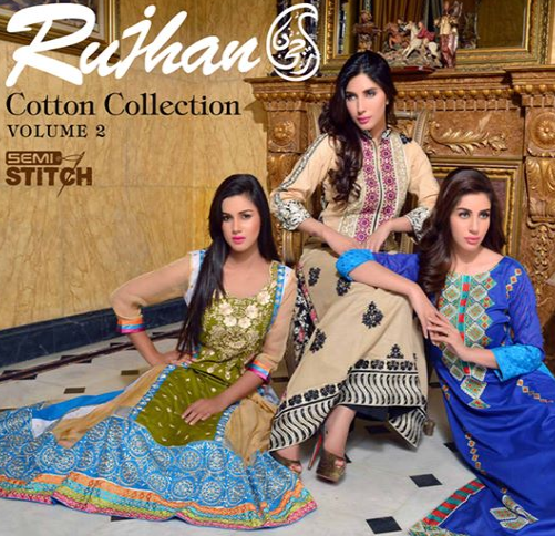 Rujhan Semi Stitched Cotton Vol-2 2014-15