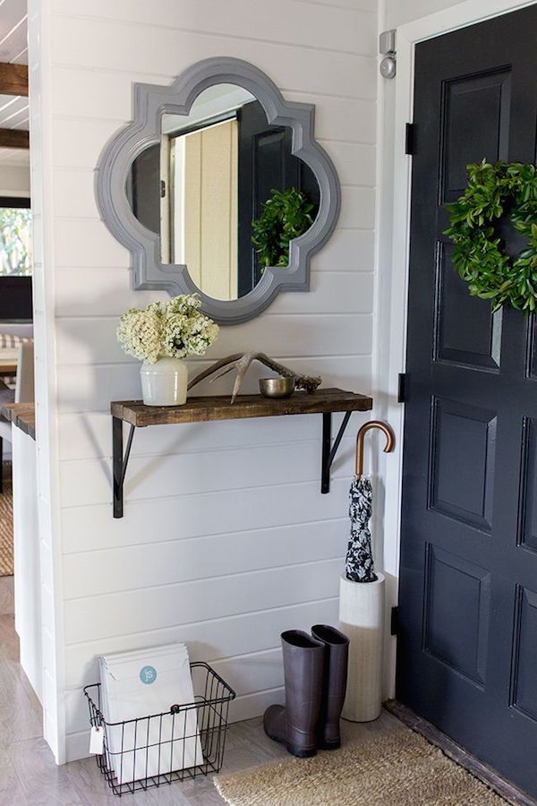 It 39 s a grandville life narrow front entryway ideas for Hallway mirror and shelf