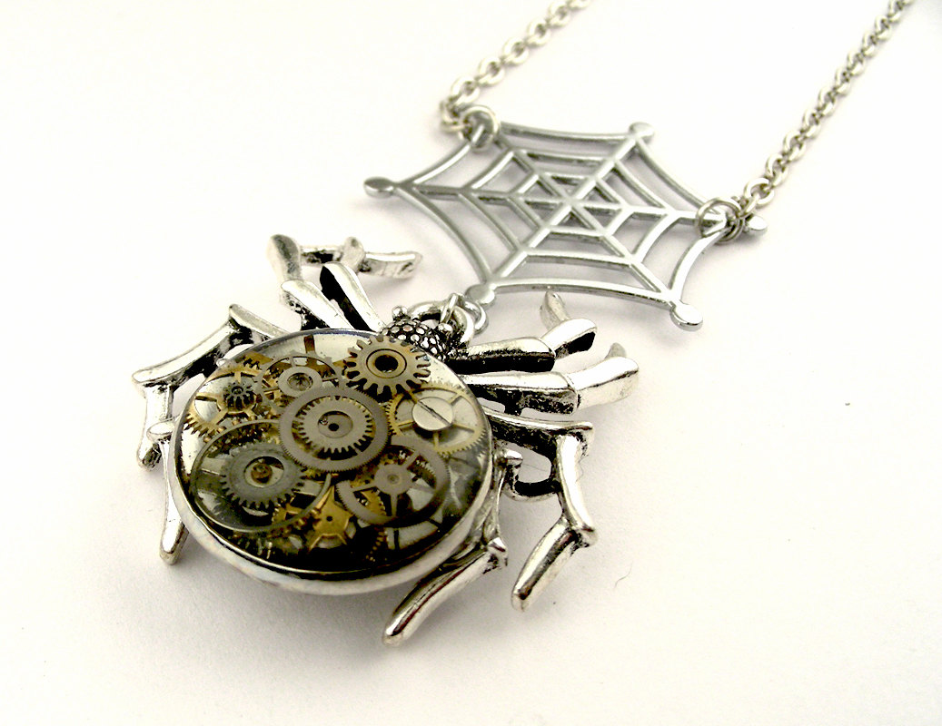 19-Spider-Web-Pendant-Nicholas-Hrabowski-Steampunk-Jewelry-from-Recycled-Watches-and-Bullets-www-designstack-co