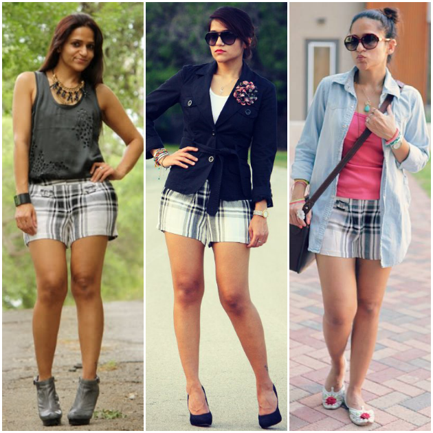 Three Ways To Wear Check Shorts, Tanvii.com