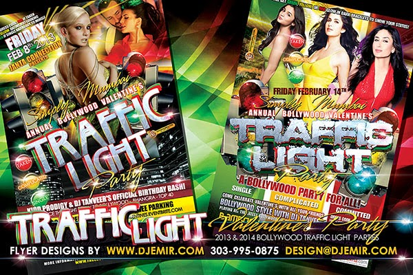 Valentine's Day Bollywood Traffic Light Party Flyer Design