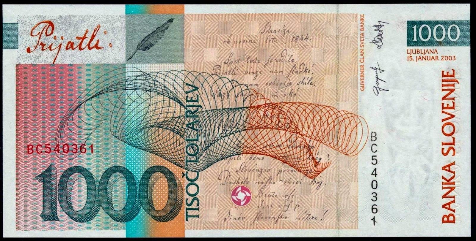 Slovenian tolar currency banknotes 1000 tolarjev