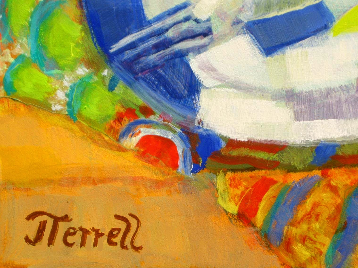 closeup of pattern in fauvist oil painting by Joan Terrell, including signature