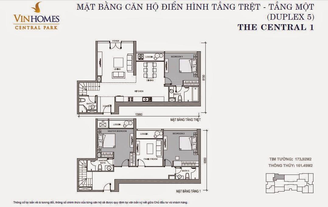 Căn hộ Vinhomes Central Park 1 - căn hộ Duplex số 05, tầng 1