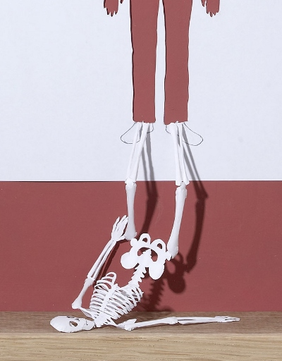 The Outline of a Skeleton (detail) - paper cut by Peter Callesen