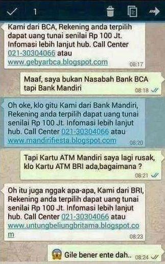 SMS penipuan gak jelas
