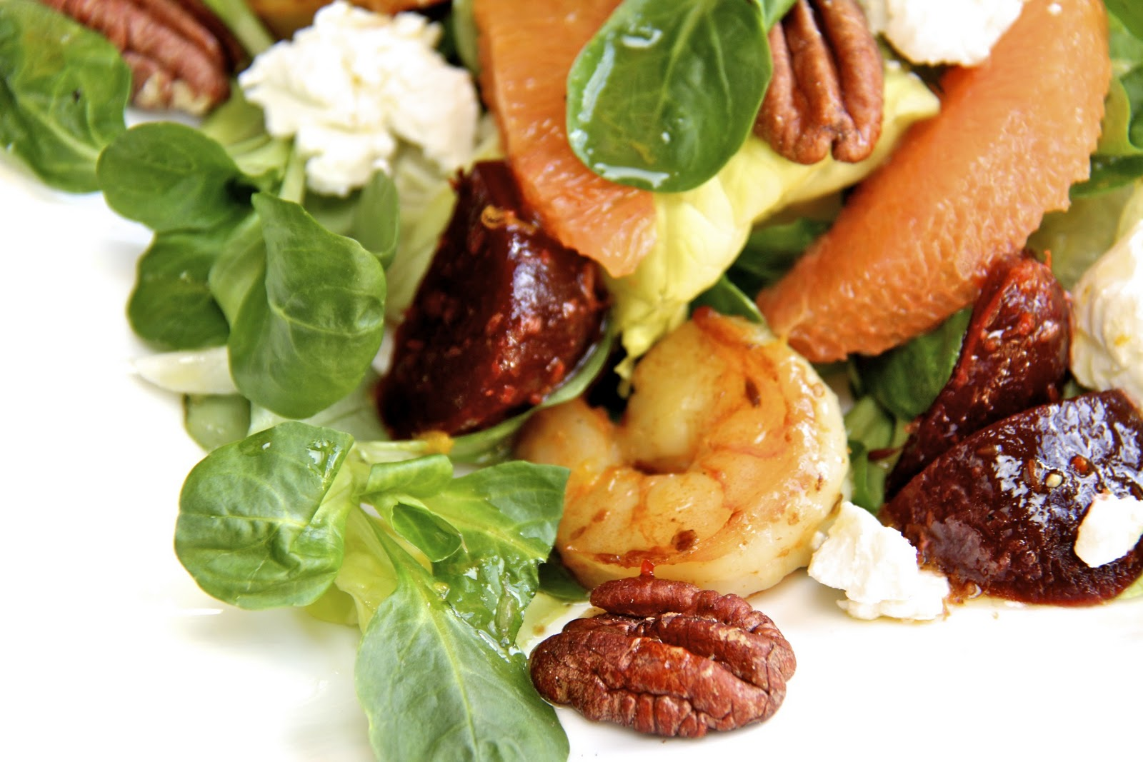 Cumin/Coriander Shrimp & Beetroot Salad w/ Oranges, Goat Cheese and ...