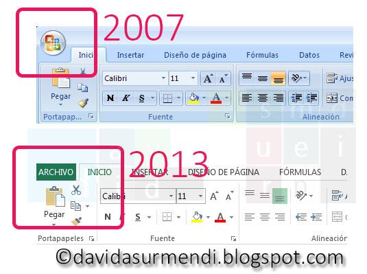 Diferencias en las Cintas de Opciones de Excel 2007 y Excel 2010/2013