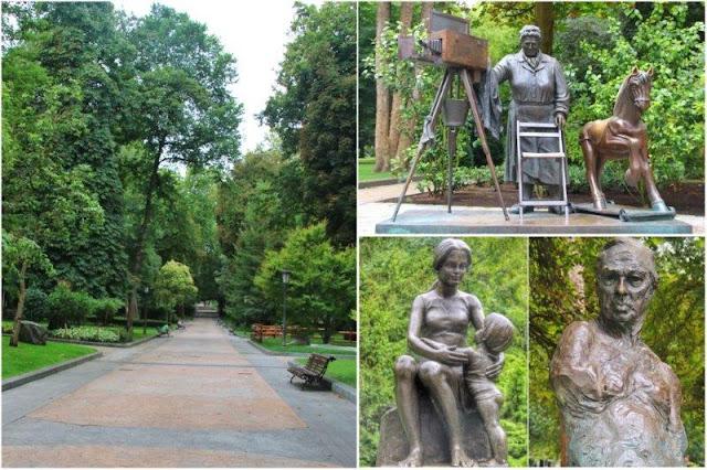 Esculturas La torera, Maternidad y Monumento a Sabino Fernandez Campos en el Campo de San Francisco de Oviedo