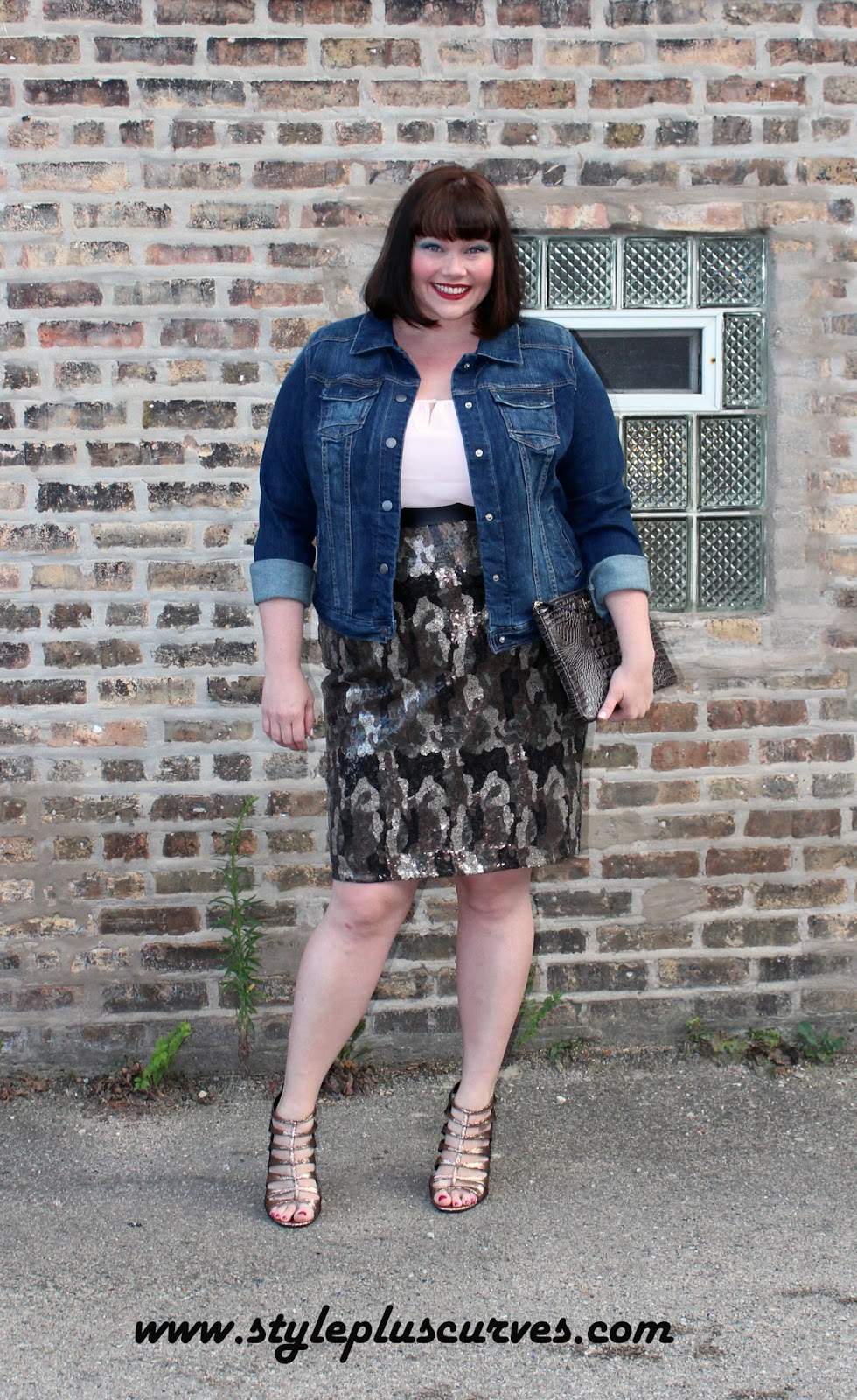 3e471b87555ec Amber from Style Plus Curves wears a Lane Bryant Camo Sequin Skirt and a Denim  Jacket