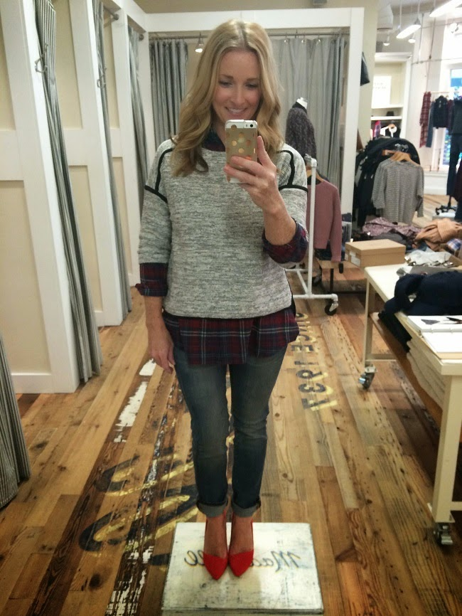 madewell style event, plaid shirt, tweed shirt, skinny jeans, mira pumps