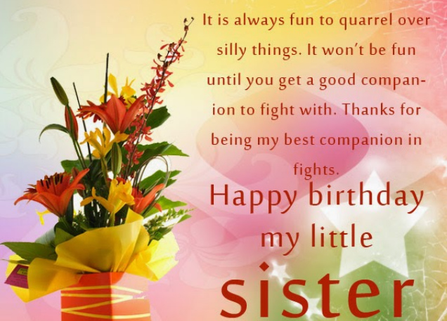 Happy Birthday Card For Little Sister