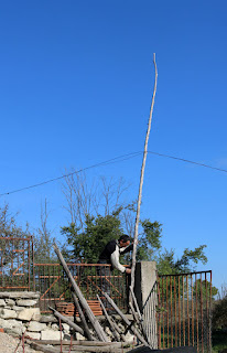 Taking down the telephone cable to the farm