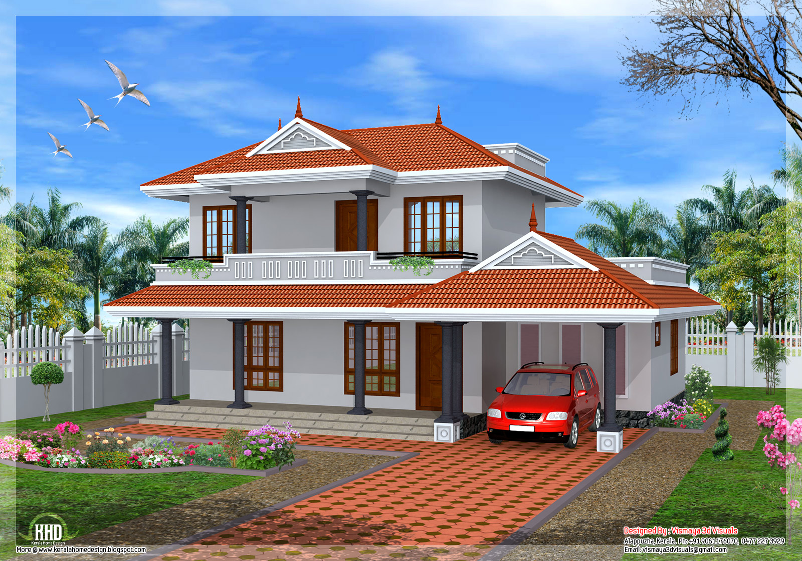 2001 3 bedroom sloping roof home design kerala for House plans architect