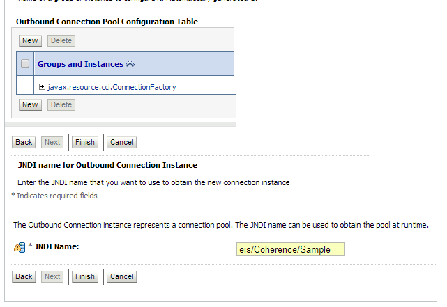 Coherence adapter outbound connection pool