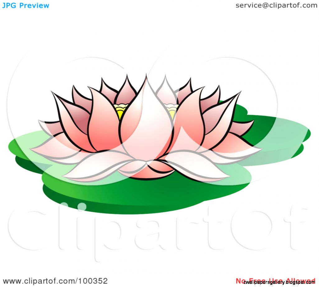 Royalty Free RF Clipart Illustration of a Blooming Pink Lotus On