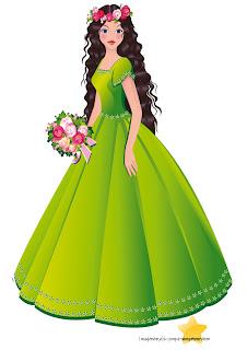 Princesa con ramo de flores
