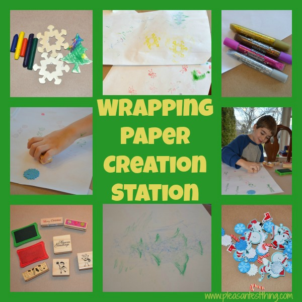wrapping paper creation station