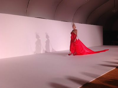 Andrej Pejic walks the Guo Pei show at Digital Fashion Week Singapore
