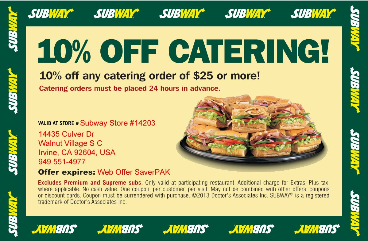 In addition to selling individual sandwiches and meals, Subway also offers catering services. Popular catering options include three and six foot long subs, boxed lunches, and sandwich platters. Salads, sides, and even desserts are also available.