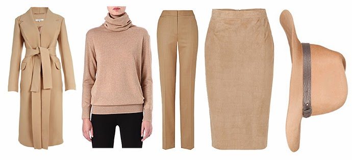Wishlist featuring Carven Wool Camel Coat, Joseph Turtleneck Cashmere Camel Jumper, Jaeger Flannel Camel Trousers, Emilio Pucci Camel leather pencil skirt and Rag & Bone Camel Wide Brimmed Fedora