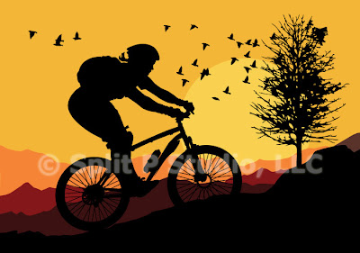 mountain bike vector art, female biking
