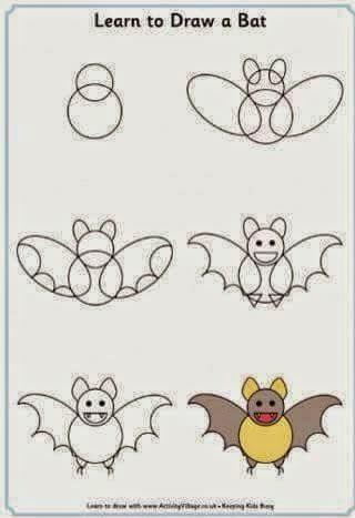 Cara menggambar Kelelawar bagi anak anak
