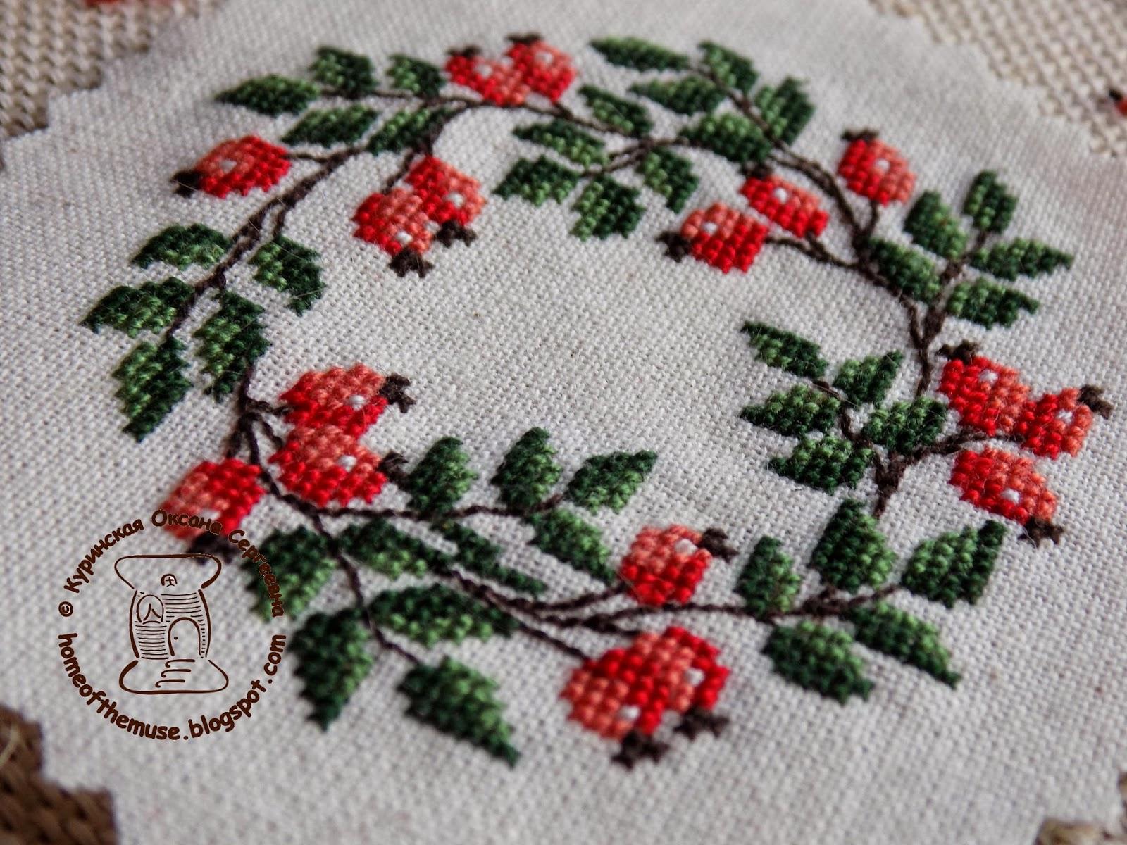 Венок из шиповника вышивка схема 29