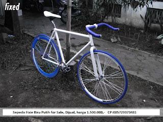Sepeda Fixie Biru Putih Keren Jogja