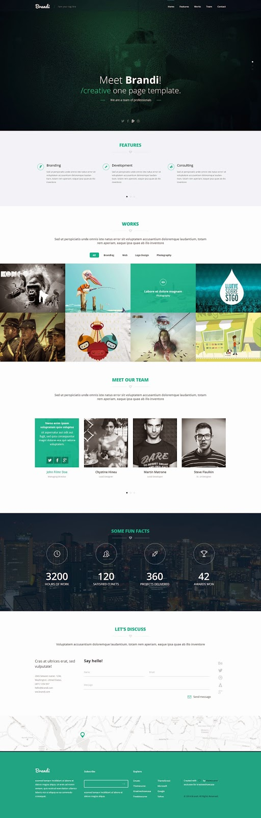 Creative One Page Multi-Purpose PSD Template