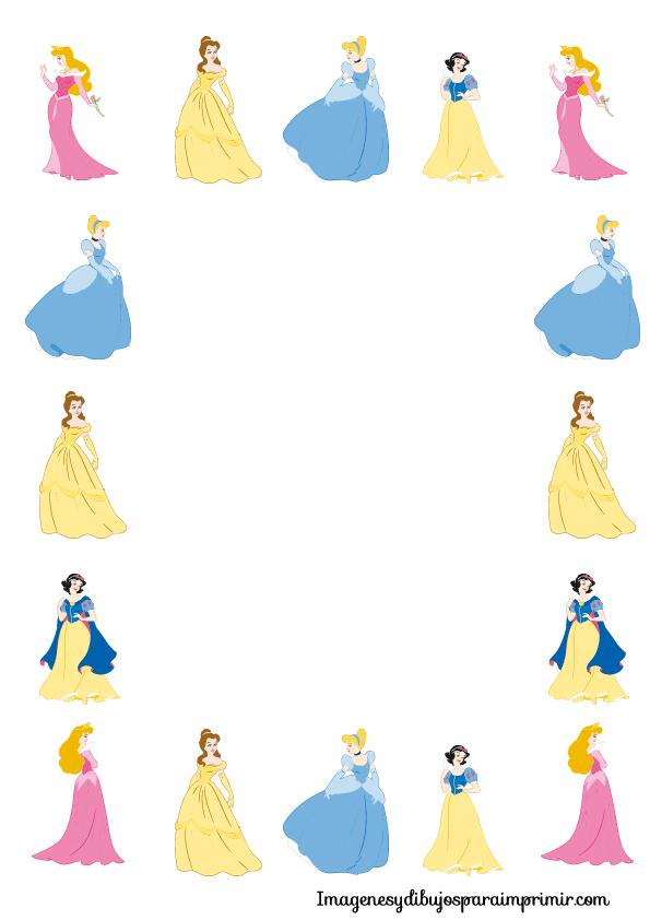 Bordes de princesas disney para imprimir