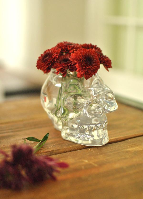 glass skull vase