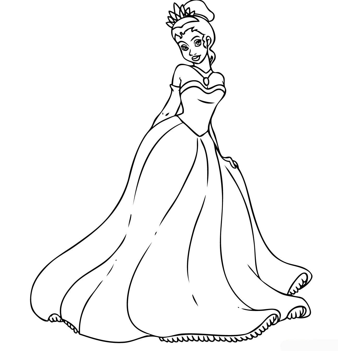 Disney Princess Tiana Coloring Pages To Girls Princess Coloring Pictures