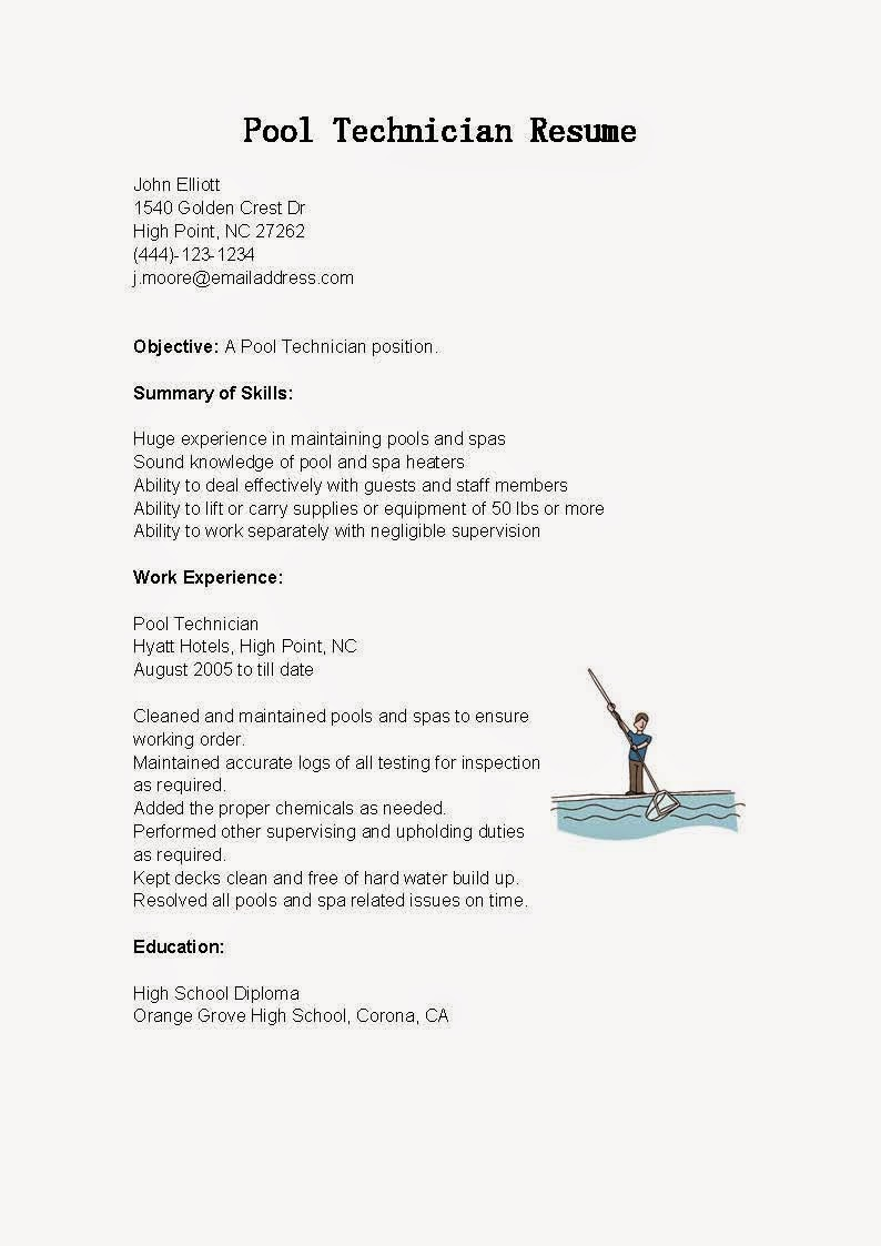 resume samples  pool technician resume sample