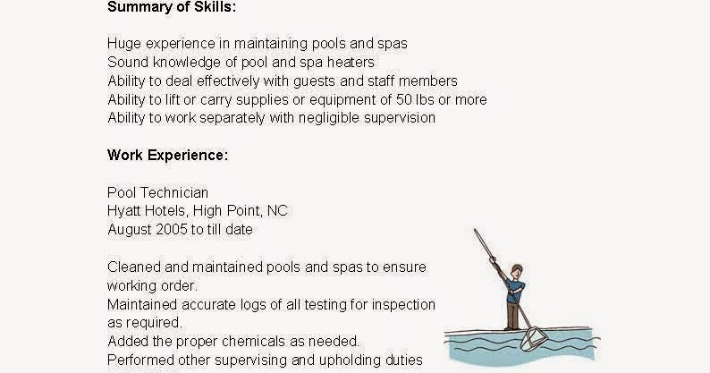 resume samples  pool technician resume sample