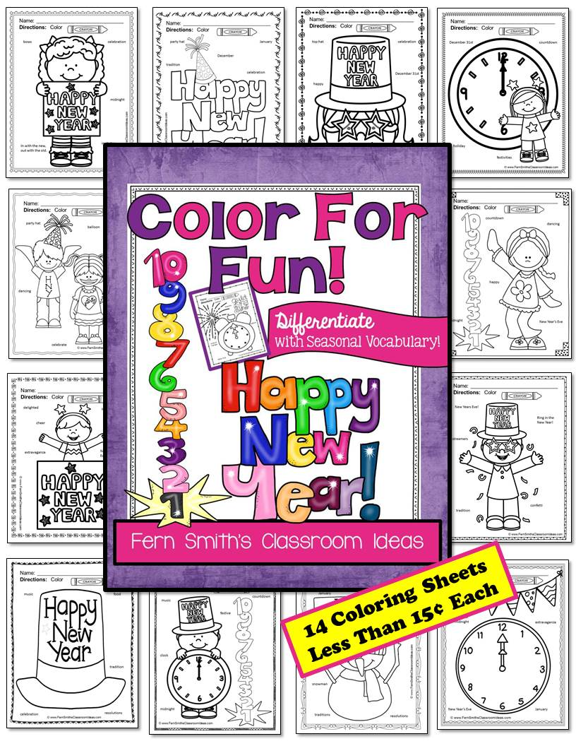 New Year Fun with Seasonal Vocabulary! Color For Fun Printable Coloring Pages