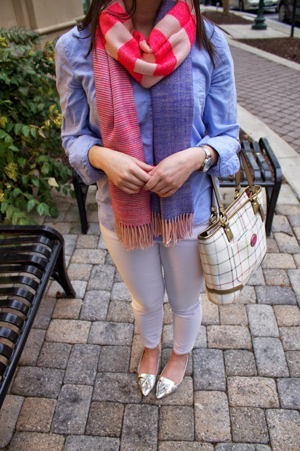 Gap scarf, striped scarf, pink scarf, blue shirt, boyfriend shirt, Gap shirt, white jeans, Gap jeans, white gap jeans, metallic flats, Zara metallic flats, coach bag, Timex watch, round Timex watch