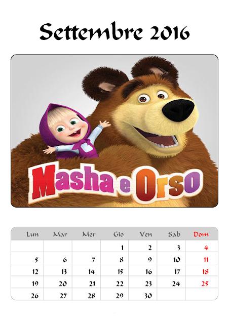 Calendario 2016 - Masha e Orso - Settembre