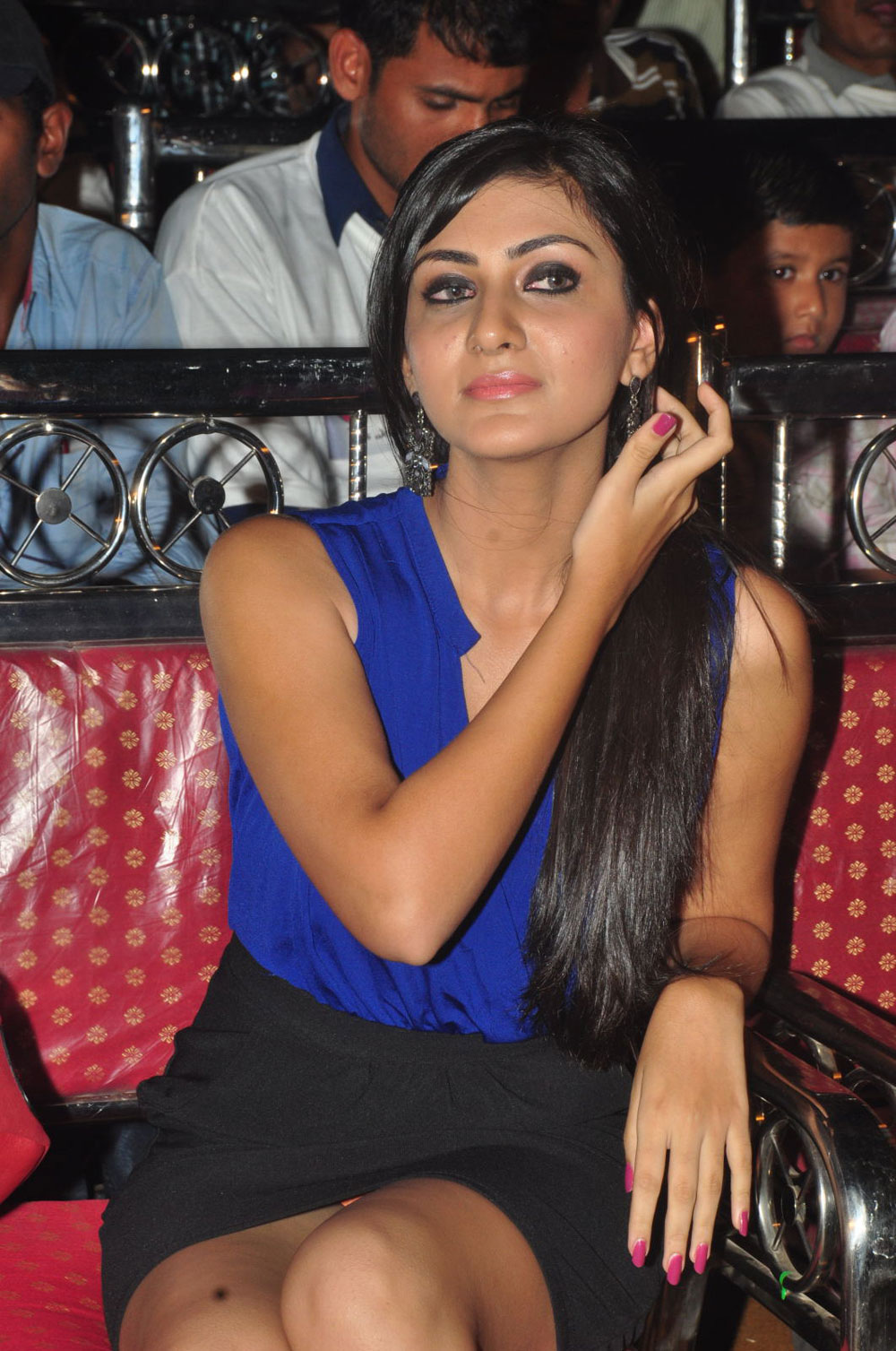Stylish diva Neelam upadyay in blue dress photos at action audio platinum disk event