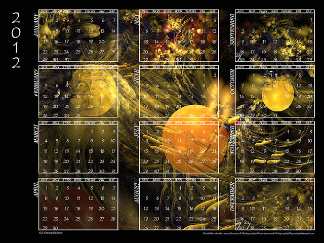 2012 calendar in printable jpg format with fractals background and white text