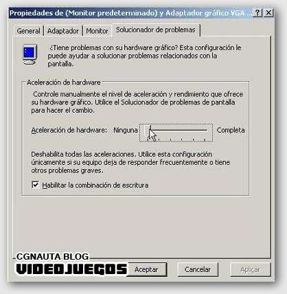 aceleracion de harware windows xp