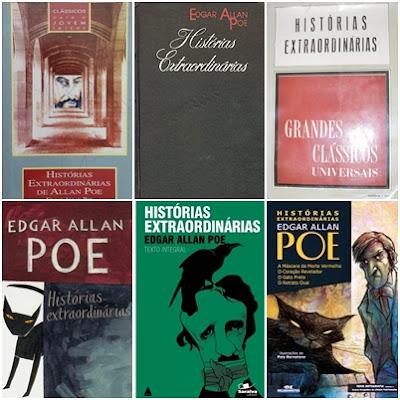 capas das edições de Histórias Extraordinárias