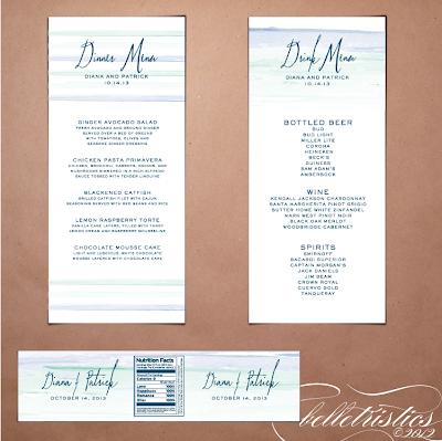 printable diy ombre water color wedding menu card